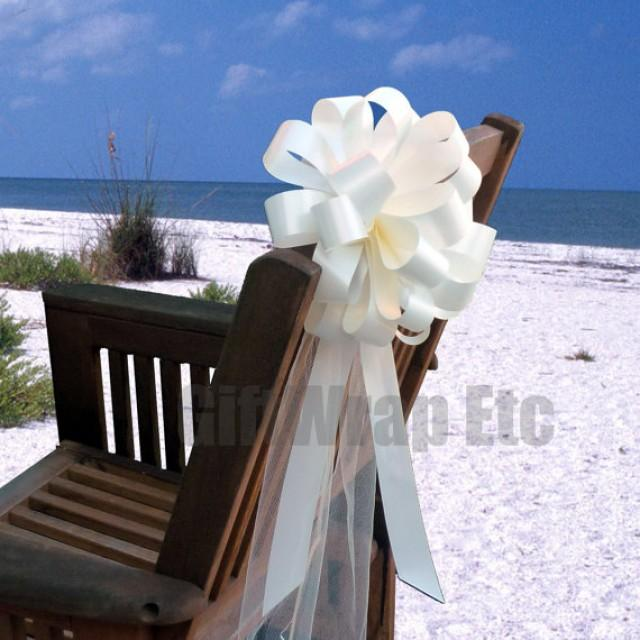 10 Ivory Pew Pull Bows Tulle Beach Wedding Decorations Church ...