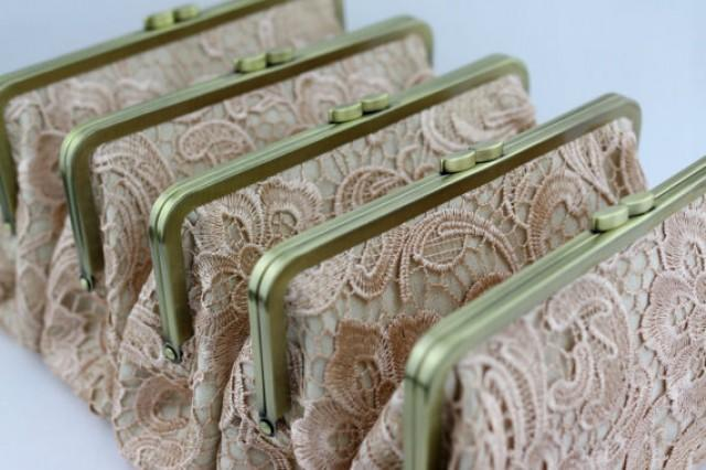 wedding photo - Retro Style Lace Wedding Clutches / Champagne Lace Bridesmaid Clutches / Wedding Gift / Bridal Clutch Set - Set of 5