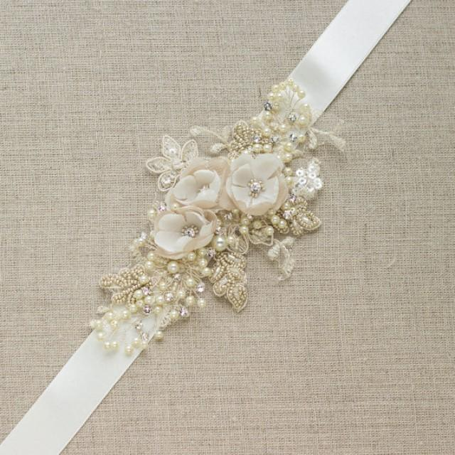 Flower Belts For Wedding Dresses: Champagne Bridal Belt Wedding Dress Sash Floral Belt Sash