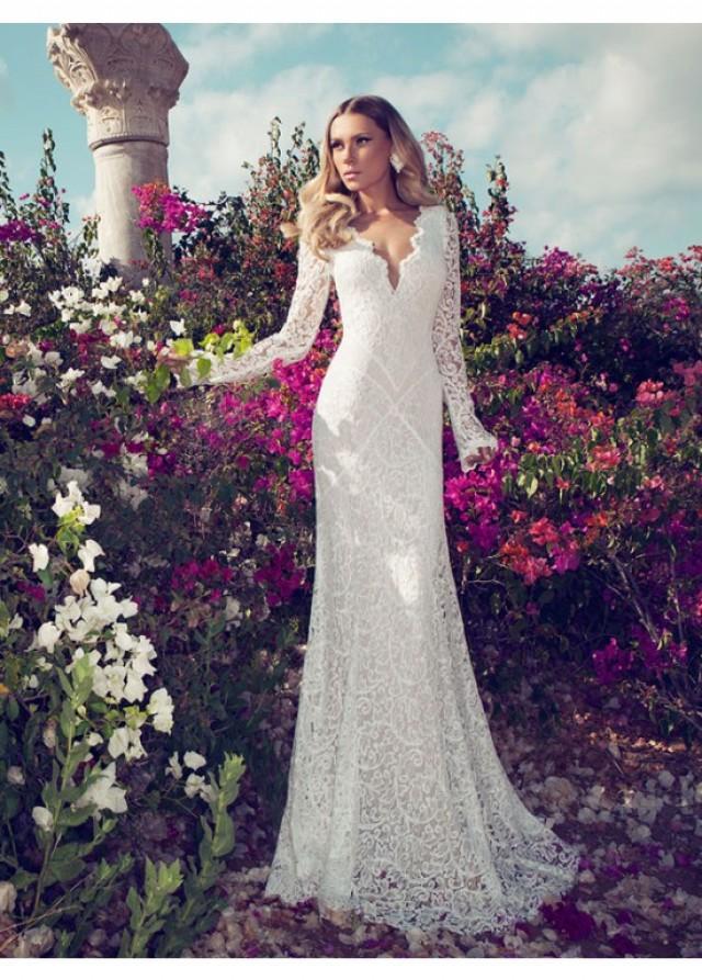 Sheath column v neck long sleeves lace wedding dresses for V neck long sleeve wedding dress