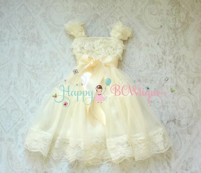 wedding photo - Flower girl dress, Ivory Bow Chiffon Lace Dress, baby Baptism, Girls dress,baby dress,Birthday dress,Rustic dress,Ivory dress,Country,Burlap