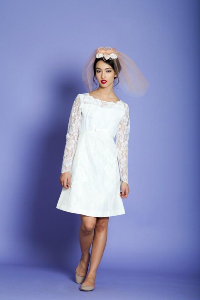 1960s mod mini wedding dress vintage 60s long sleeve for 1960 style wedding dresses