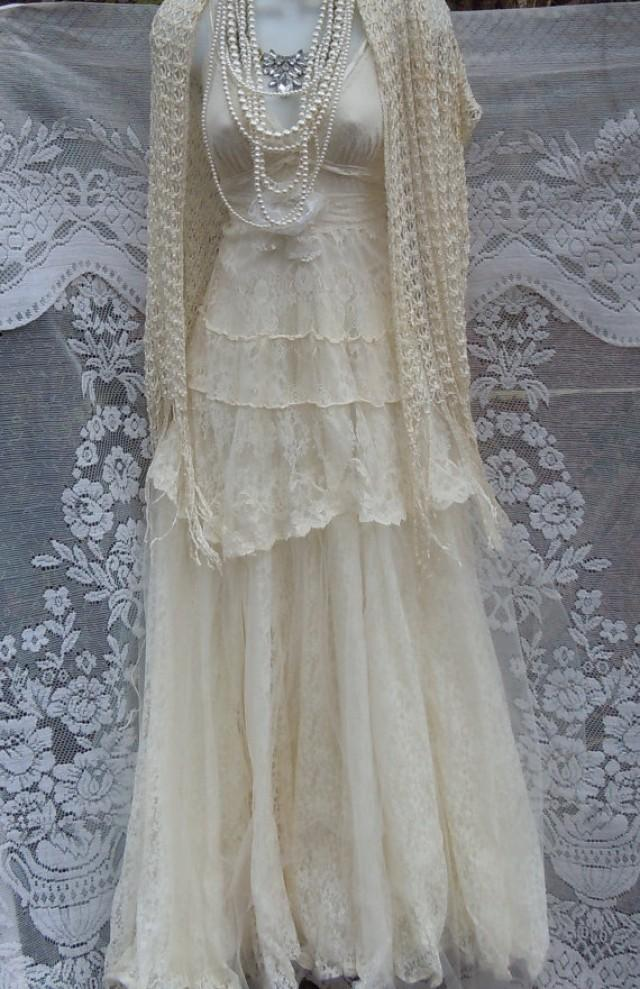 Lace Wedding Dress White Crochet Cotton Tulle Vintage