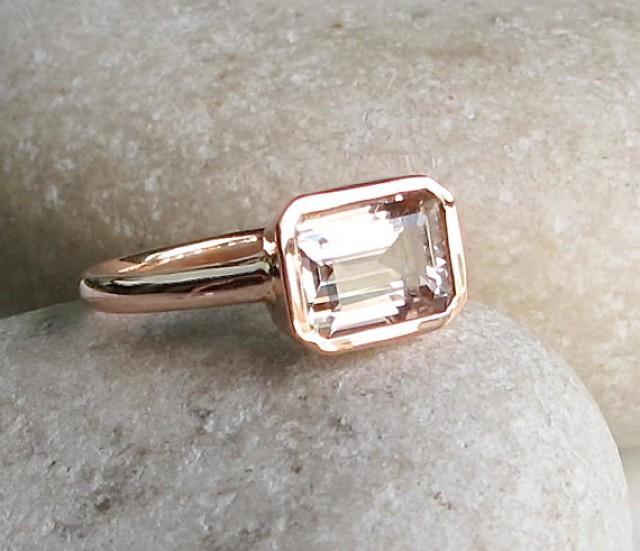 Rectangle Morganite Ring Rose Gold Ring Morganite Ring Bridal Ring Promis