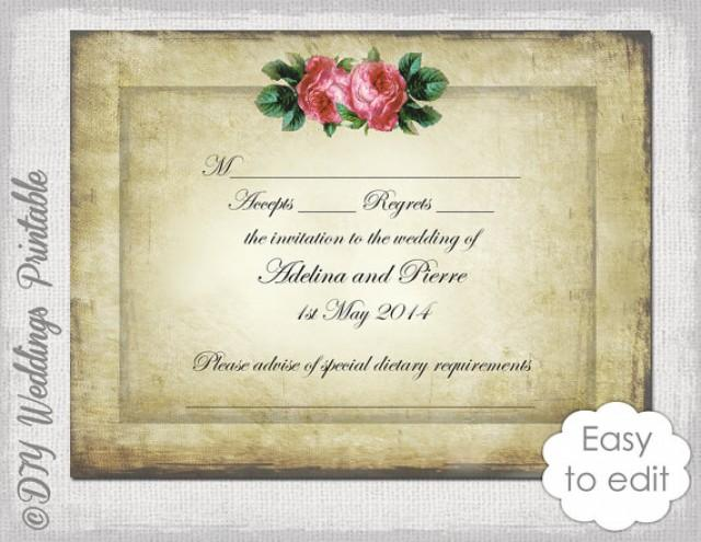Wedding rsvp template download diy vintage valentine for Rsvp cards for weddings templates