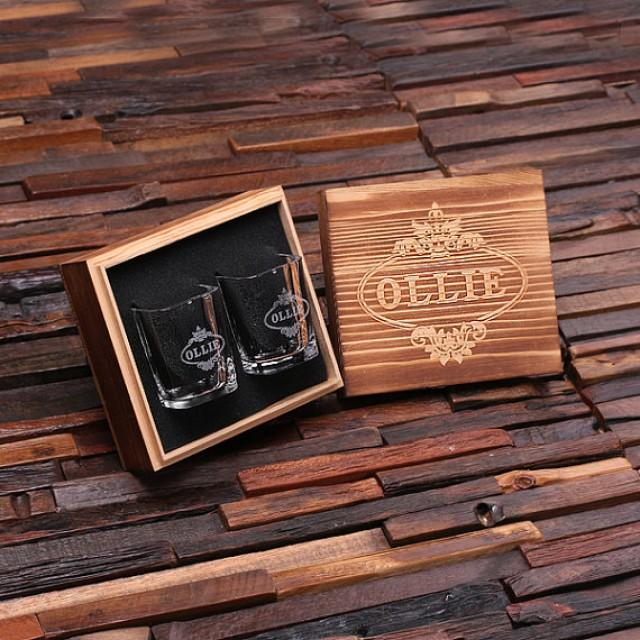 Best Man Cave Gifts : Personalized shot glasses with wood box groomsmen best