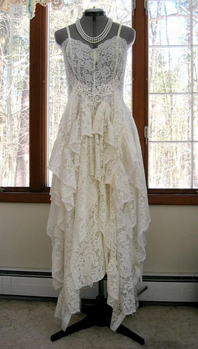 Off white ivory alternative bride tattered boho gypsy Hippie vintage wedding dresses