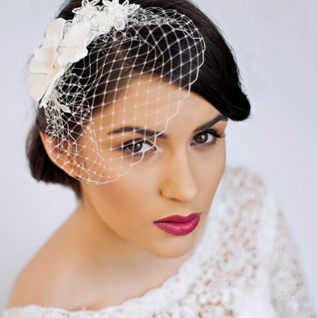 Small Birdcage Veil With Cherry Blossom In Ivory - Bridal Hair Piece ...