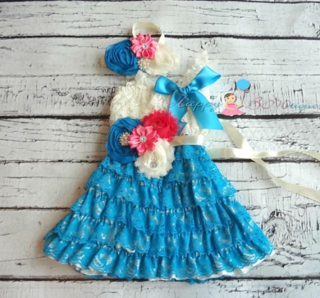 wedding photo - Turquoise and Ivory Pink dress set, Flower girls dress, Ivory Lace Dress,baby dress, Birthday outfit,girls dress,blue dress,baby girls dress