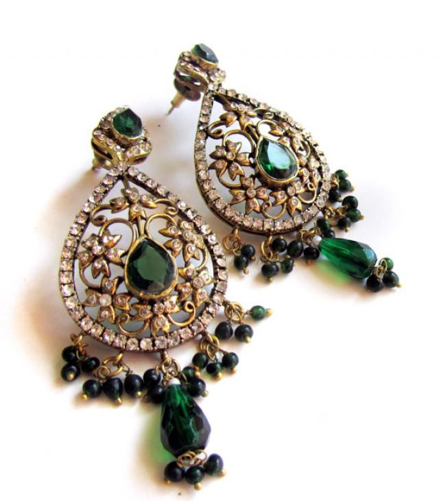 green chandelier earringsfiligree gold earringscrystal