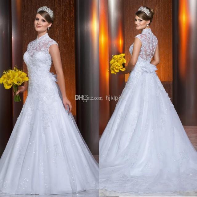 2014 new vestido de noivas high neck illusion backless for High neck backless wedding dress