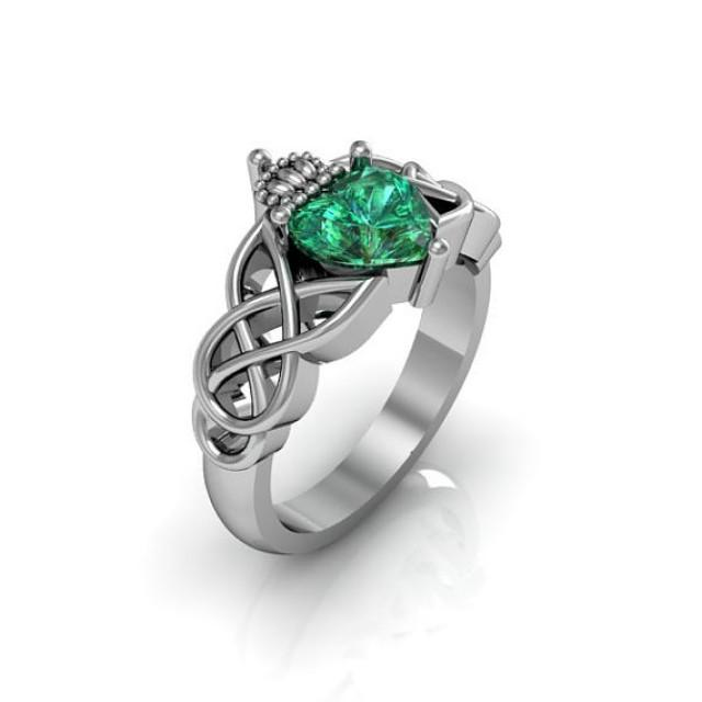 claddagh ring sterling silver emerald love and