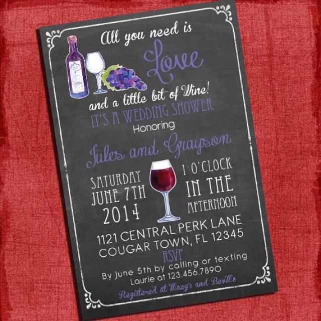 Printable Wine Theme CouplesCoed Wedding Shower Invitation I