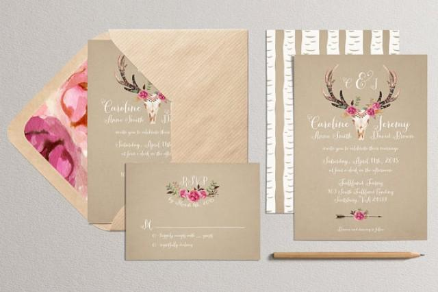 wedding photo - Printable Wedding Invitation and RSVP Card - Antler Wedding Invitation - Rustic Wedding Invitation - Woodland Wedding Invitation - kraft