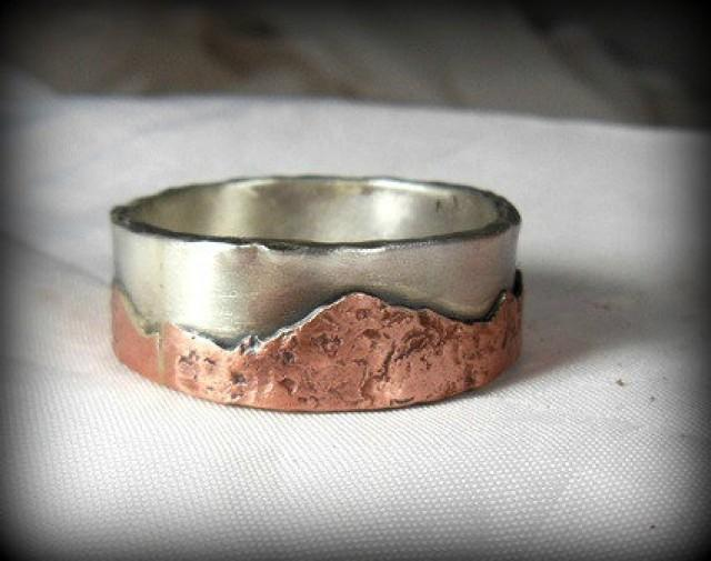 mountain range silver and copper wedding band mens ring