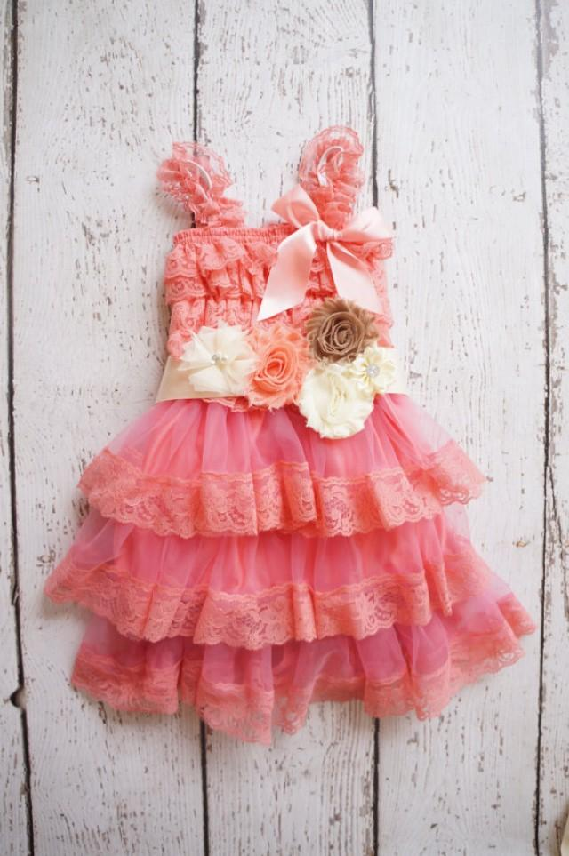 Flower Girl Dress Lace Coral Flower Girl Dress Baby Lace