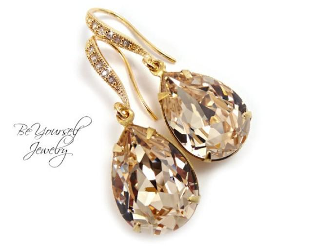 Champagne Bridal Earrings Teardrop Dangle Earrings Swarovski Crystal Light Silk Earrings Gold