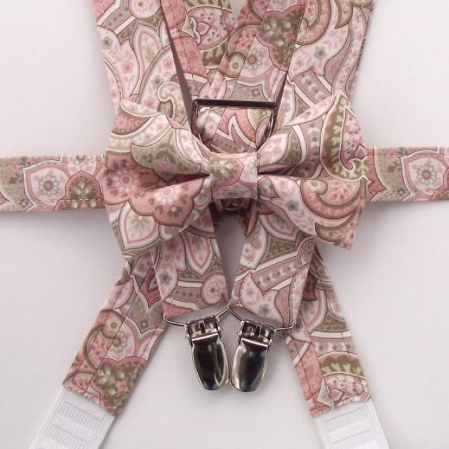 Blush Bow Tie And Suspenders Boys Blush Suspenders Paisley Suspenders Rose Toddler Suspenders