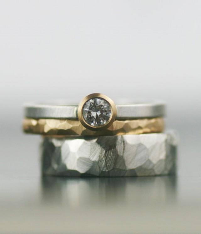 Moissanite And Gold Wedding Band Set Matching Engagement Rings Faceted Wedd