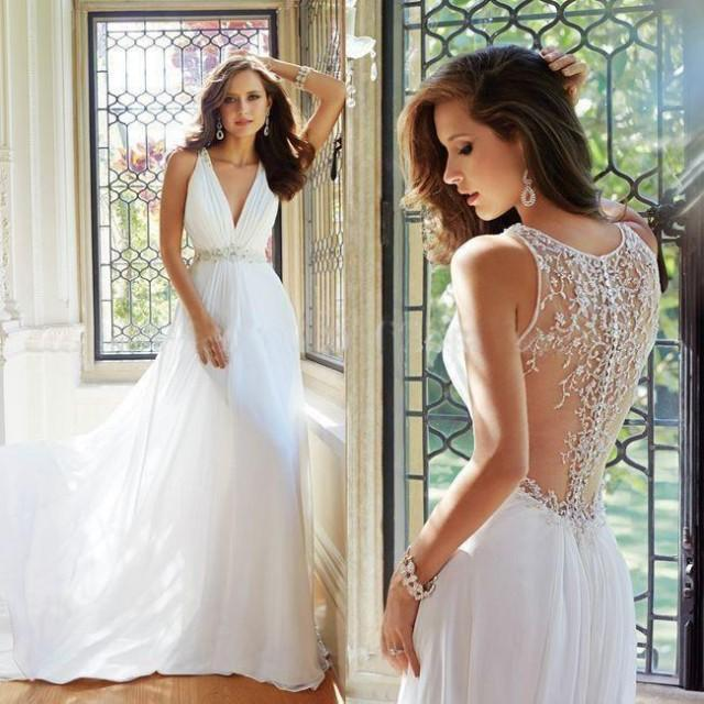 custom made a line wedding dress 2015 see through beaded