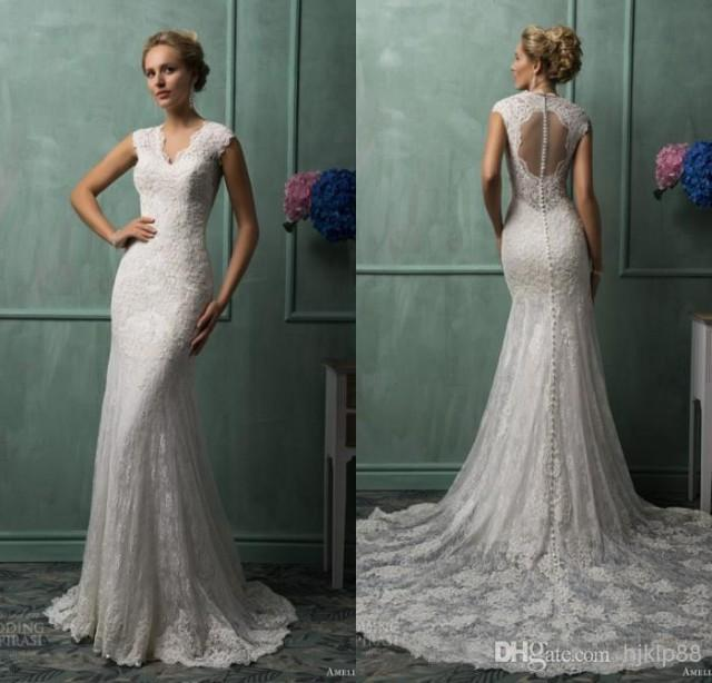 Keyhole Wedding Gowns: New Arrival Mermaid V-neck Amelia Sposa Chapel Train Ivory