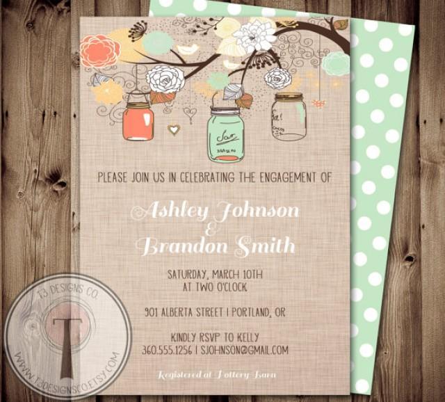Engagement Party Invitation, Mason Jar Invitation, Bridal Shower ...
