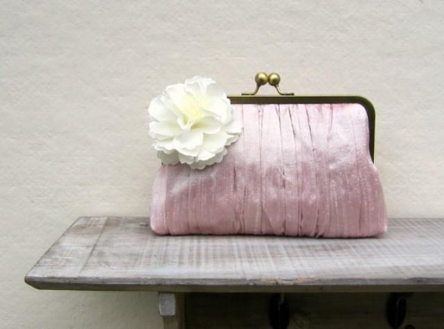 Pink Clutch Pink Bridal Clutch Bag Pink Wedding Clutch Pleated Clutch Bridesmaid Clutch ...