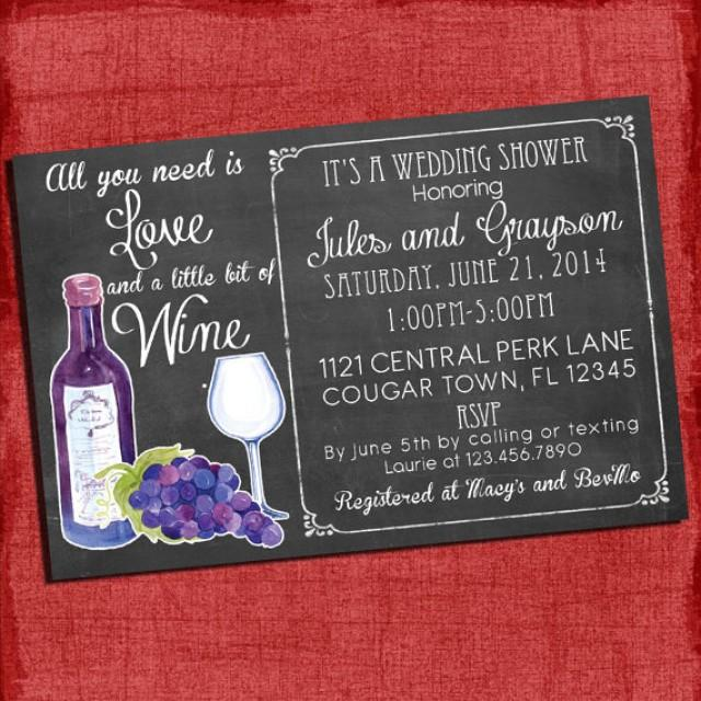Printable wine theme couples coed wedding shower for Themed bridal shower invitations