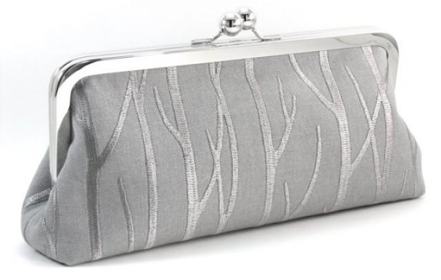 Bridal Clutch Purse - Silver Wedding Bag - Embroidered Winter Gray Bride Handbag - Bridesmaid ...