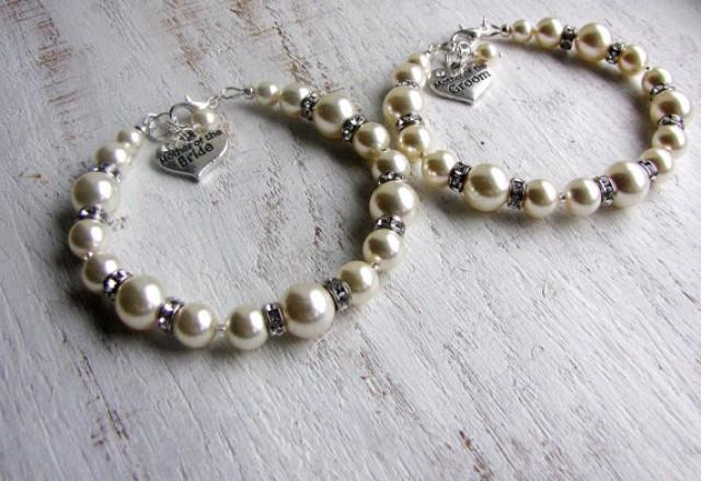 Wedding Jewelry Gift For Bride : The BRIDE And GROOM Swarovski Pearl Bracelets, Wedding Jewelry Gifts ...