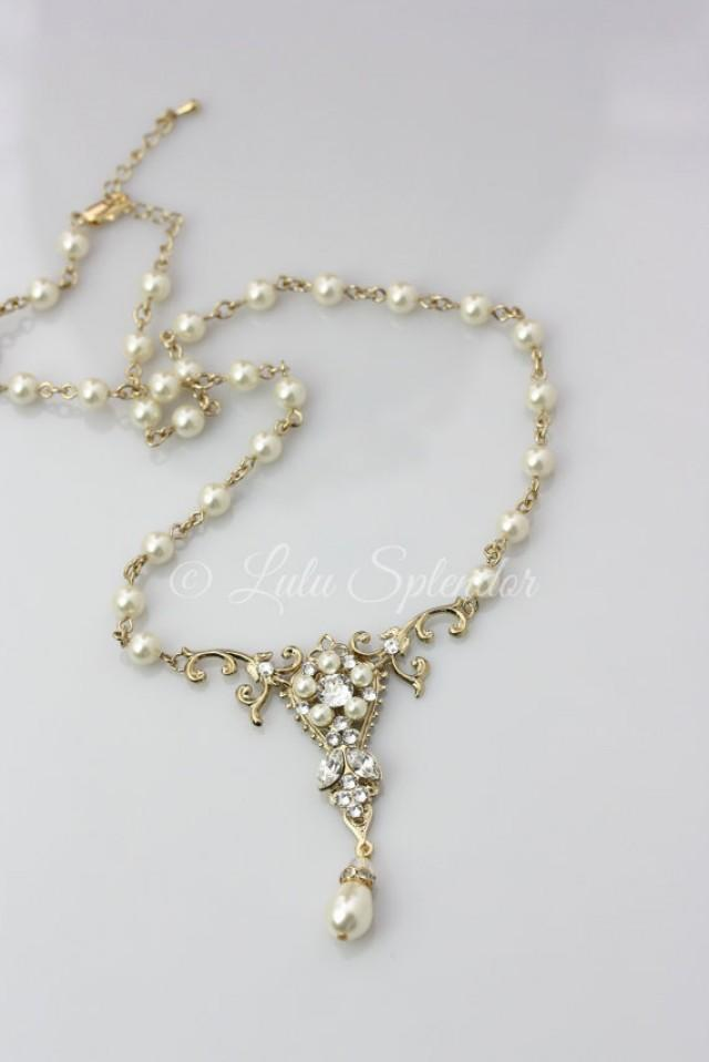 gold bridal necklace pearl pendant wedding necklace