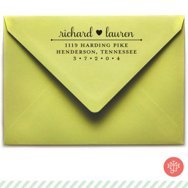 Samantha Return Address Stamp Wooden Handle OR Self Inking Wedding Invitation Stamp Hostess