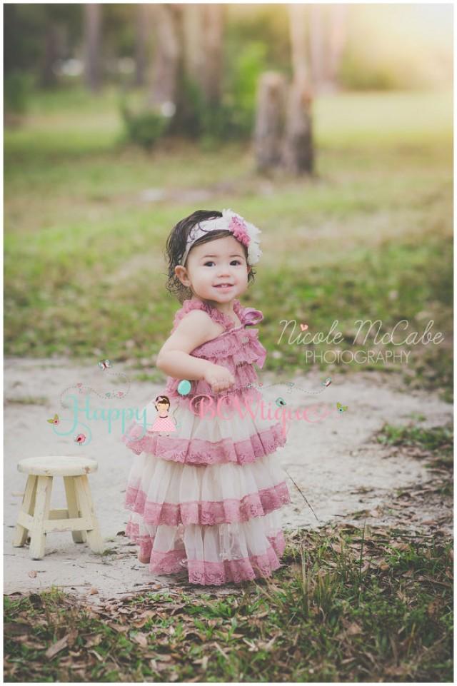 wedding photo - Flower girl dress, Champagne Rose Chiffon lace Dress, wedding dress,baby girls dress,Birthday ,girls dress,Country Wedding, Rustic Wedding