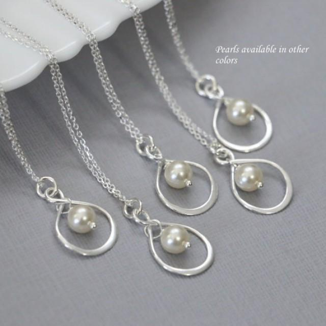CHOOSE YOUR COLOR Bridesmaid Gift, Swarovski Ivory Pearl ...