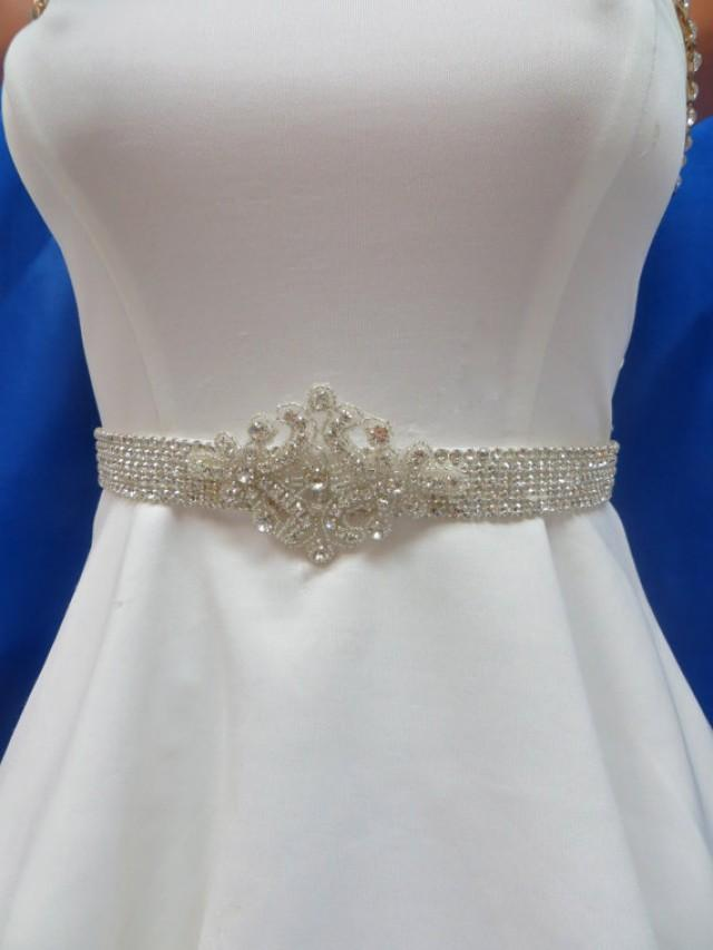 Rhinestone crystal sash beaded bridal belt wedding gown for Wedding dress belt sash
