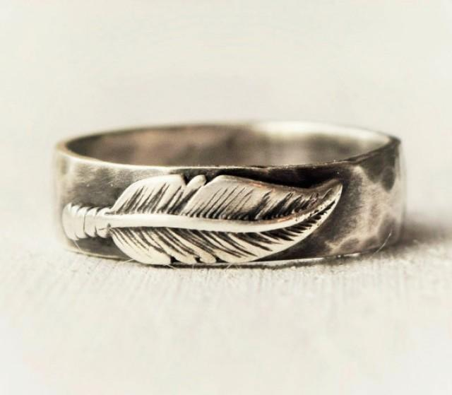 sterling silver feather ring hammered band hand forged With feather wedding ring