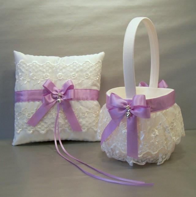orchid wedding bridal flower girl basket and ring bearer pillow set on ivory or white double. Black Bedroom Furniture Sets. Home Design Ideas