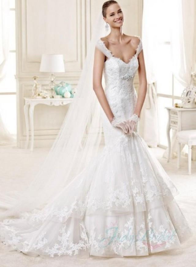 3 Tiered Lace Wedding Dress : Jw beautiful tiered lace mermaid wedding dress