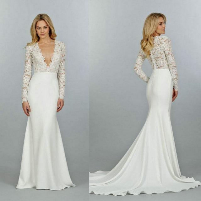 2015 Long Sleeve V-Neck Mermaid Wedding Dresses Chapel