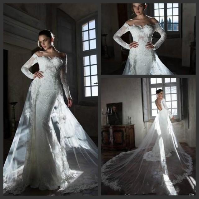 Mermaid Wedding Dress With Cathedral Train : Sheer long sleeve mermaid wedding dresses with cathedral train