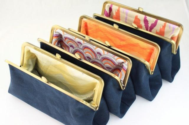 wedding photo - Solid Navy Bridesmaids Clutches with Various Linings / Design your Own Clutches for your Wedding Party / Wedding Gift - Set of 8