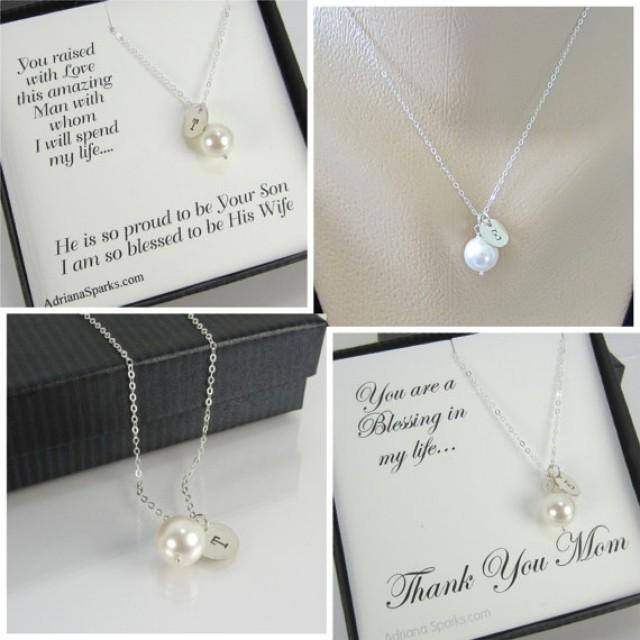 Mother Of The Bride And Groom Gift Set Of 2 Personalized Wedding Jewelry Initial Pearl Necklace