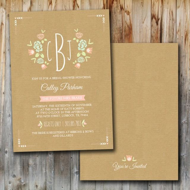 monogram wedding shower invitation printable bridal shower insert couples shower invitation lingerie weddbook