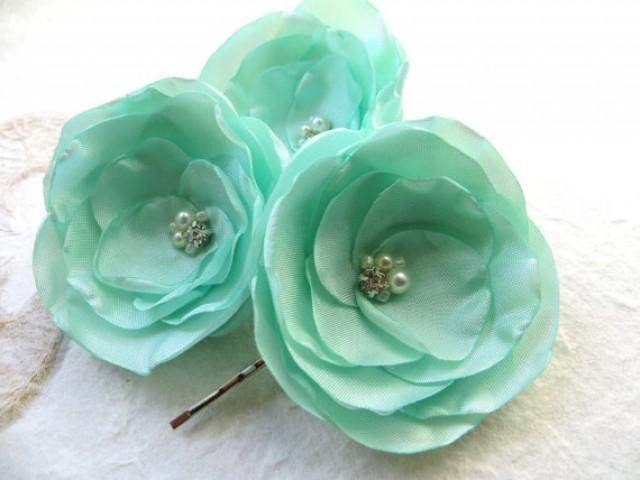 Mint Green Wedding Hair Flowers Set Of 3 Bridesmaid Bridal Hairpiece Bridal Hair Clips