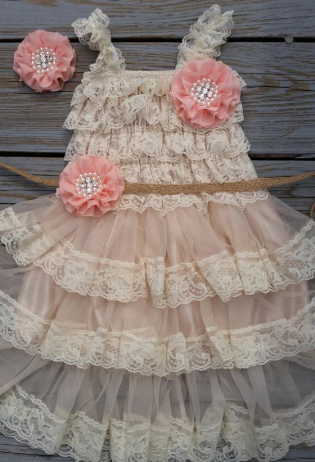 Country flower girl dress rustic flower girl outfit peach for Country wedding flower girl dresses