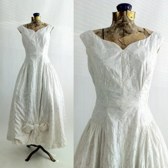 Vintage dress 1950 white cotton gown suzy for Vintage summer wedding dresses