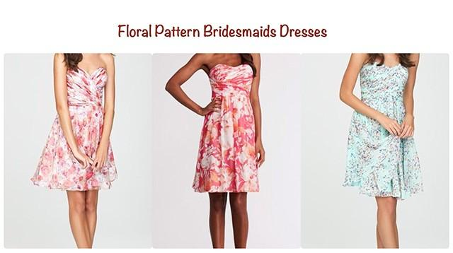 wedding photo - Floral pattern bridesmaids dresses