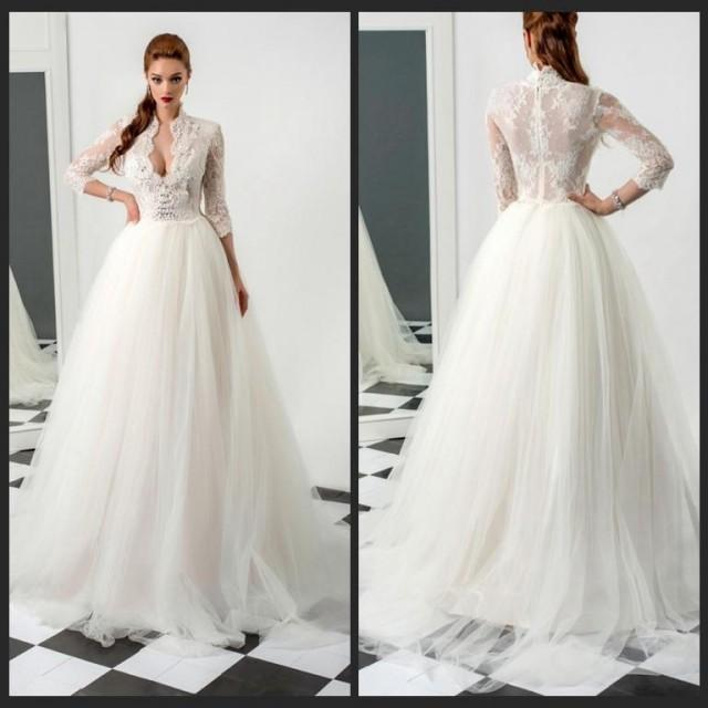 Stunning Winter Wedding Dresses : Stunning winter long sleeve wedding dresses sheer illusion