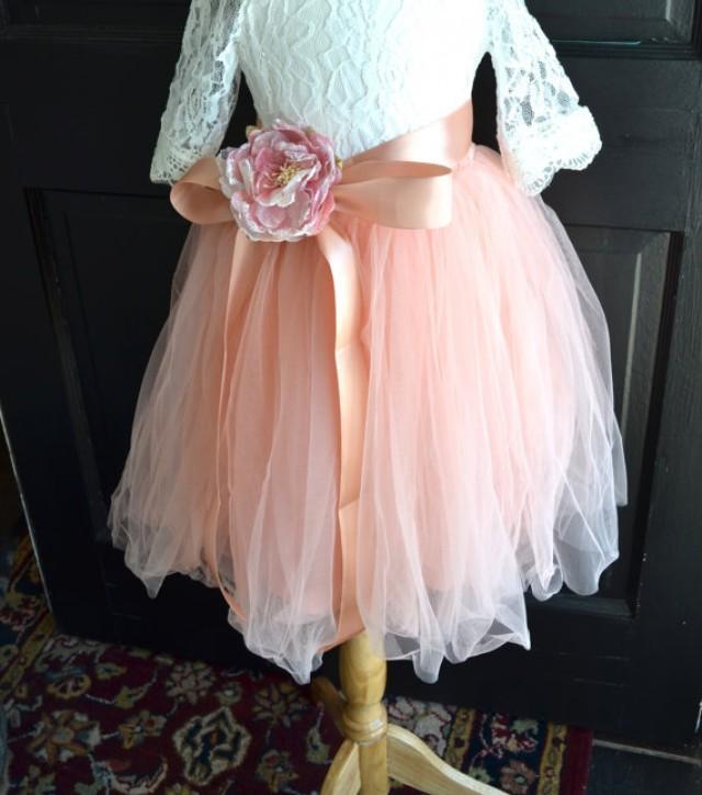 Girls blush tutu girls blush pink long tulle skirt for How to make a long tulle skirt for wedding dress