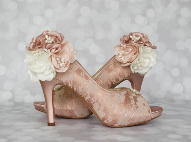 wedding shoes antique pink wedding shoes with lace